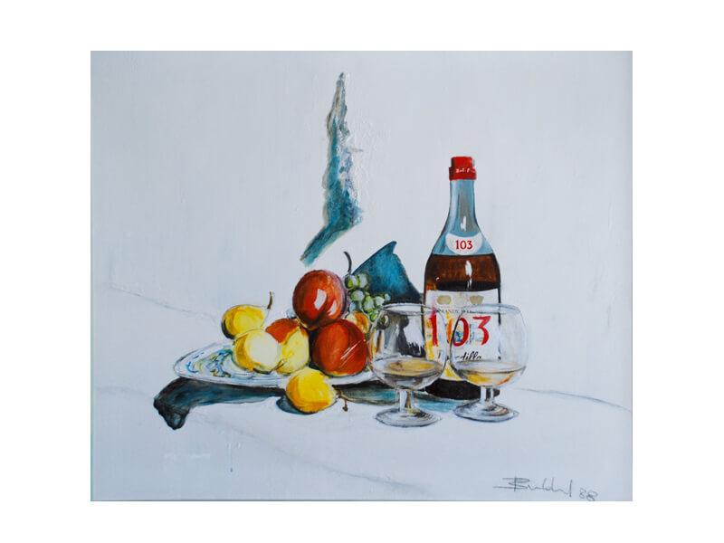 Titel 103 Acryl auf Leinwand 50 x 60 cm Stillleben Obstteller