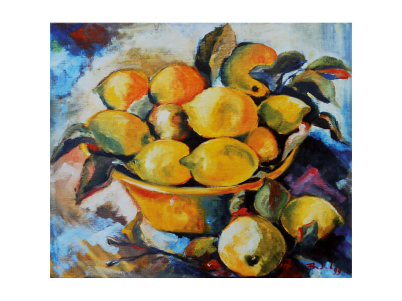 Limones Öl auf Leinwand 60 x 70 cm Stillleben Obstschale mit Zitronen