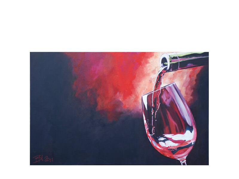 Chianti Acryl auf Leinwand 80 x 130 cm Chiantiwein mit Weinglas