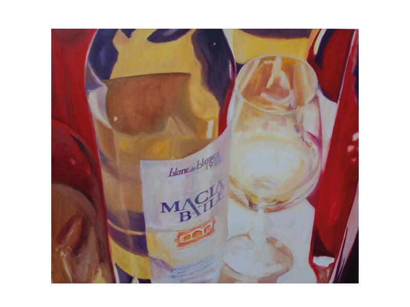 Macia Battle Öl aufLeinwand 100 x 120 cm Macia Battle Wein mit Weinglas