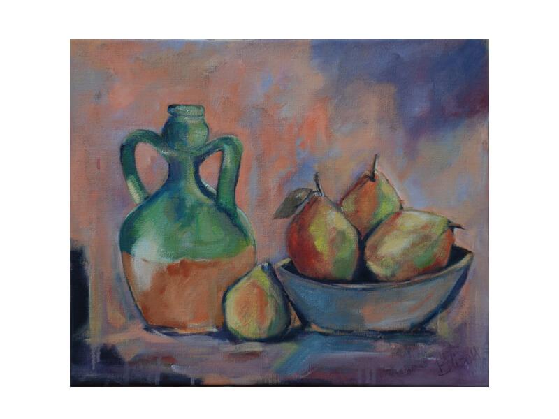 Krug und Birnen Acryl auf Leinwand 41 x 50 cm Stillleben Krug und Birnen