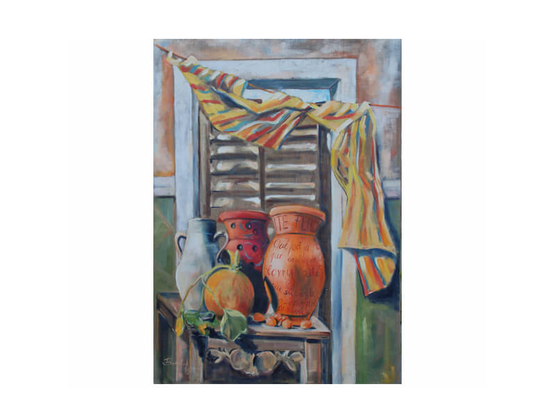 La Ventana Öl auf Leinwand 70 x 90 cm Fenster mit Tonvasen