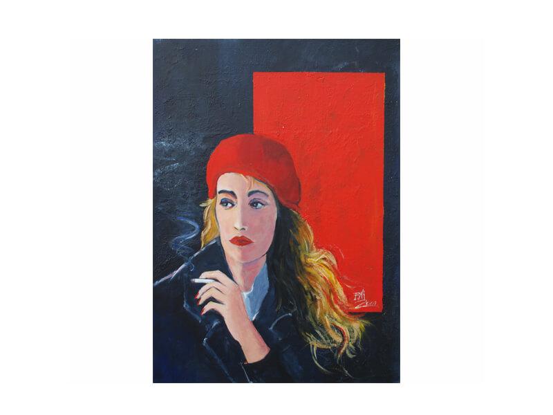 Mädchen mit rotem Hut Acryl auf Leinwand 70 x 90 cm