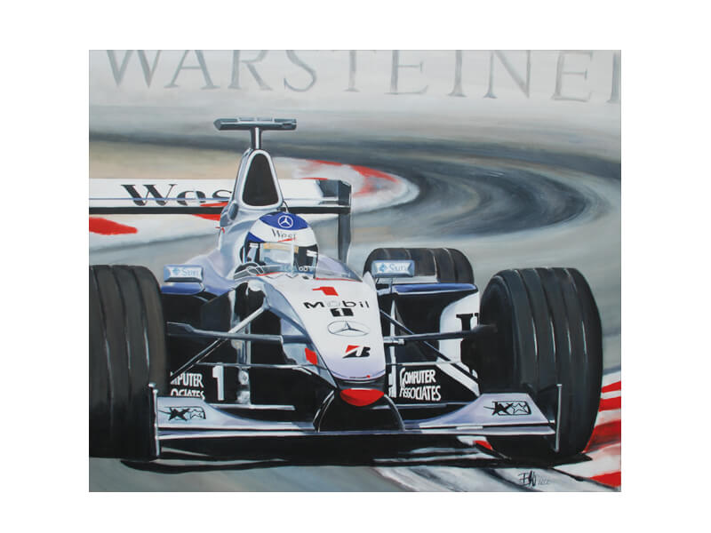 Hakkinen F 1 Acryl auf Leinwand 90 x 110 cm Formel 1 Hakkinen
