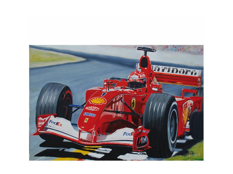 Schumacher F 1 Acryl auf Leinwand 60 x 110 cm Formel 1 Schumacher