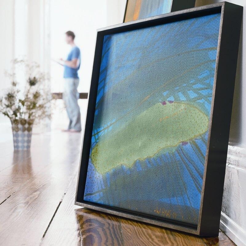 Bild Blautöne mit Rahmen schwarz