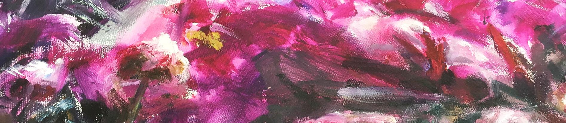 rosa Blumen im Detail