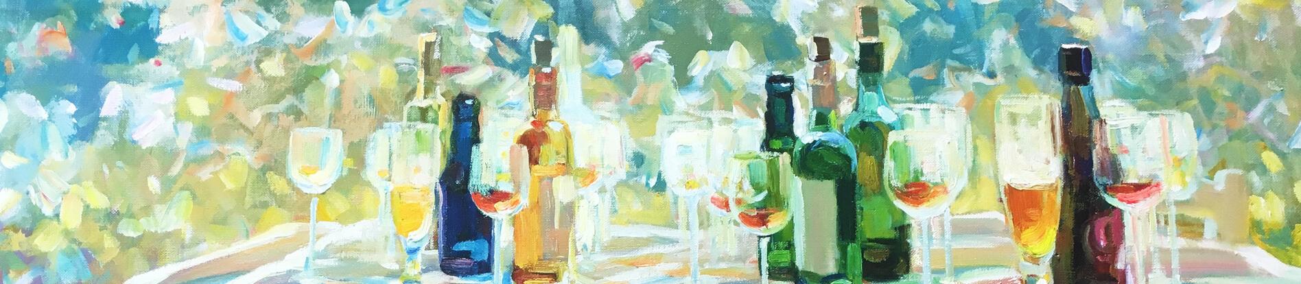 Kunstdruck gedeckter Tisch mit Wein